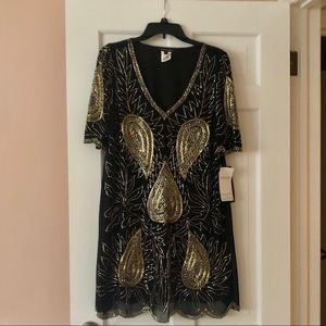 MARINA cocktail dress Black -gold & silver sequins
